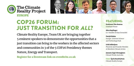 COP26 Forum: Just Transition for All? (In Person) tickets