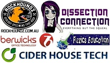 Dissection Connection, Rockhoundz, Cider House Tech, Fizzics Education & Berwicks Office Technology logo