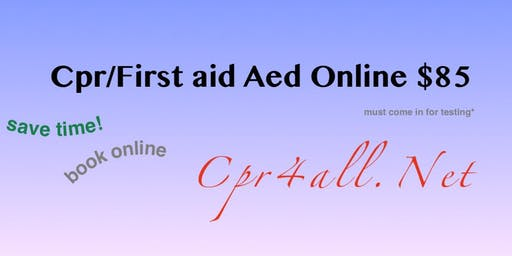 CPR/First aid/Aed course w Certification