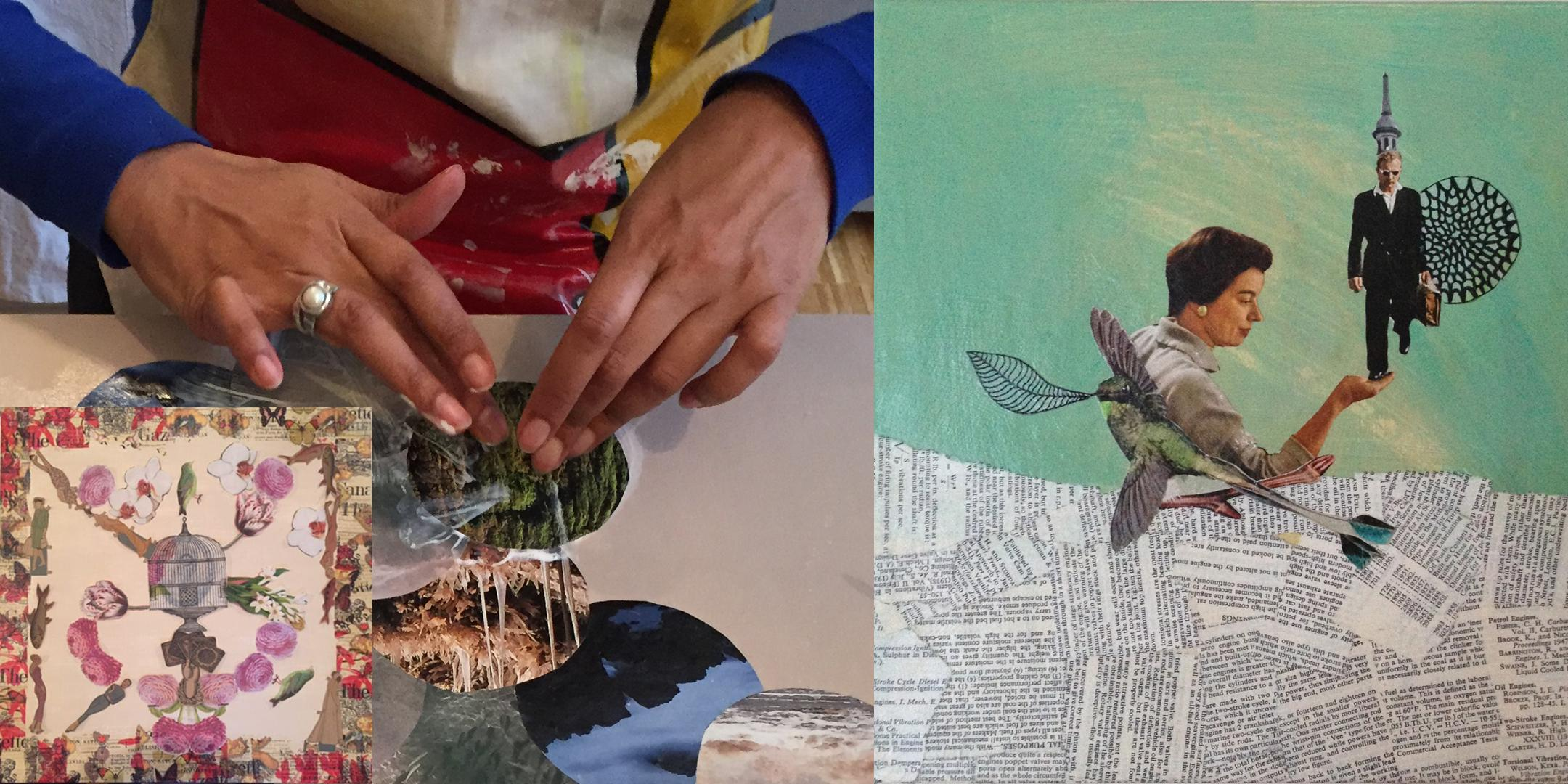 Create a picture with collage and mixed media