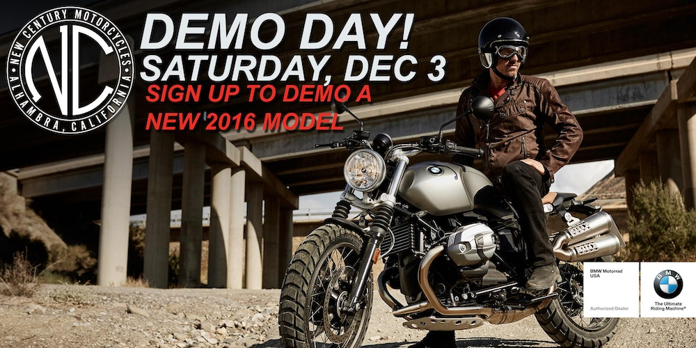 new century bmw motorcycles: demo day tickets, sat, dec 3, 2016 at