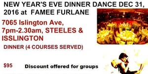 NEW YEAR'S EVE DINNER DANCE DEC 31, 2016-2017 WITH...