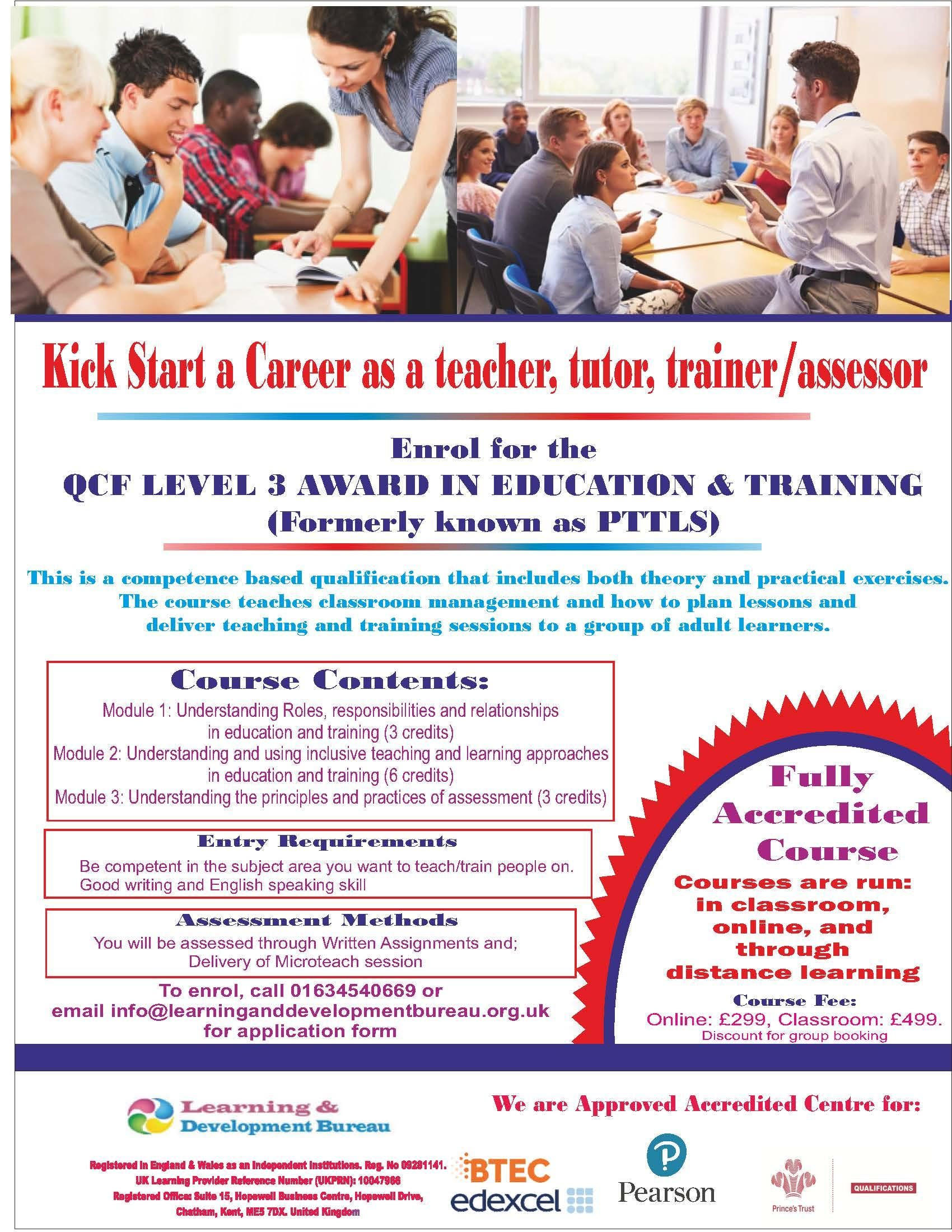 3 DAY FAST TRACK PTLLS COURSE-  LEVEL 3 AWARD