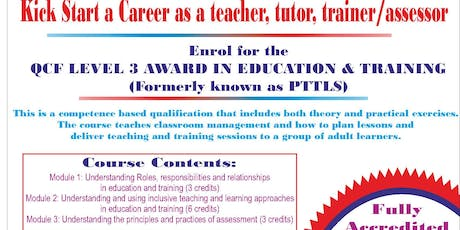 3 DAY FAST TRACK PTLLS COURSE-  LEVEL 3 AWARD IN EDUCATION AND TRAINING (NEW PTLLS)-CLASSROOM, ONE-TO-ONE, OR DISTANCE LEARNING tickets