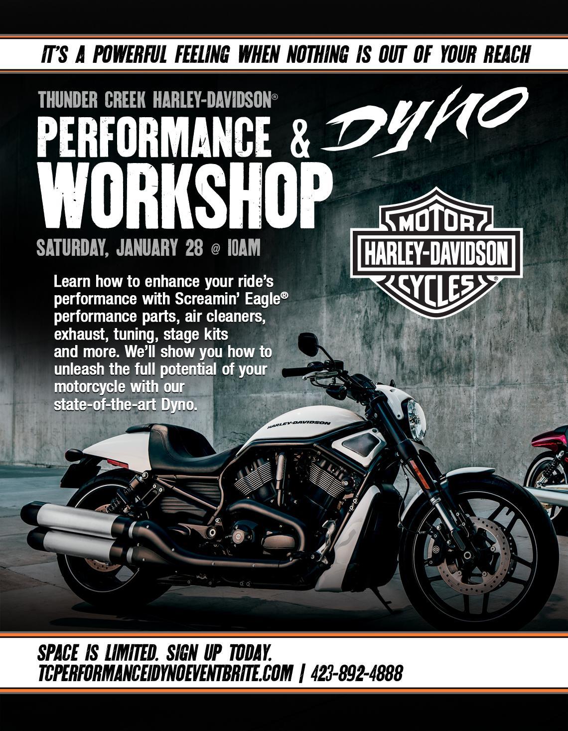performance dyno workshop @ thunder creek harley-davidson