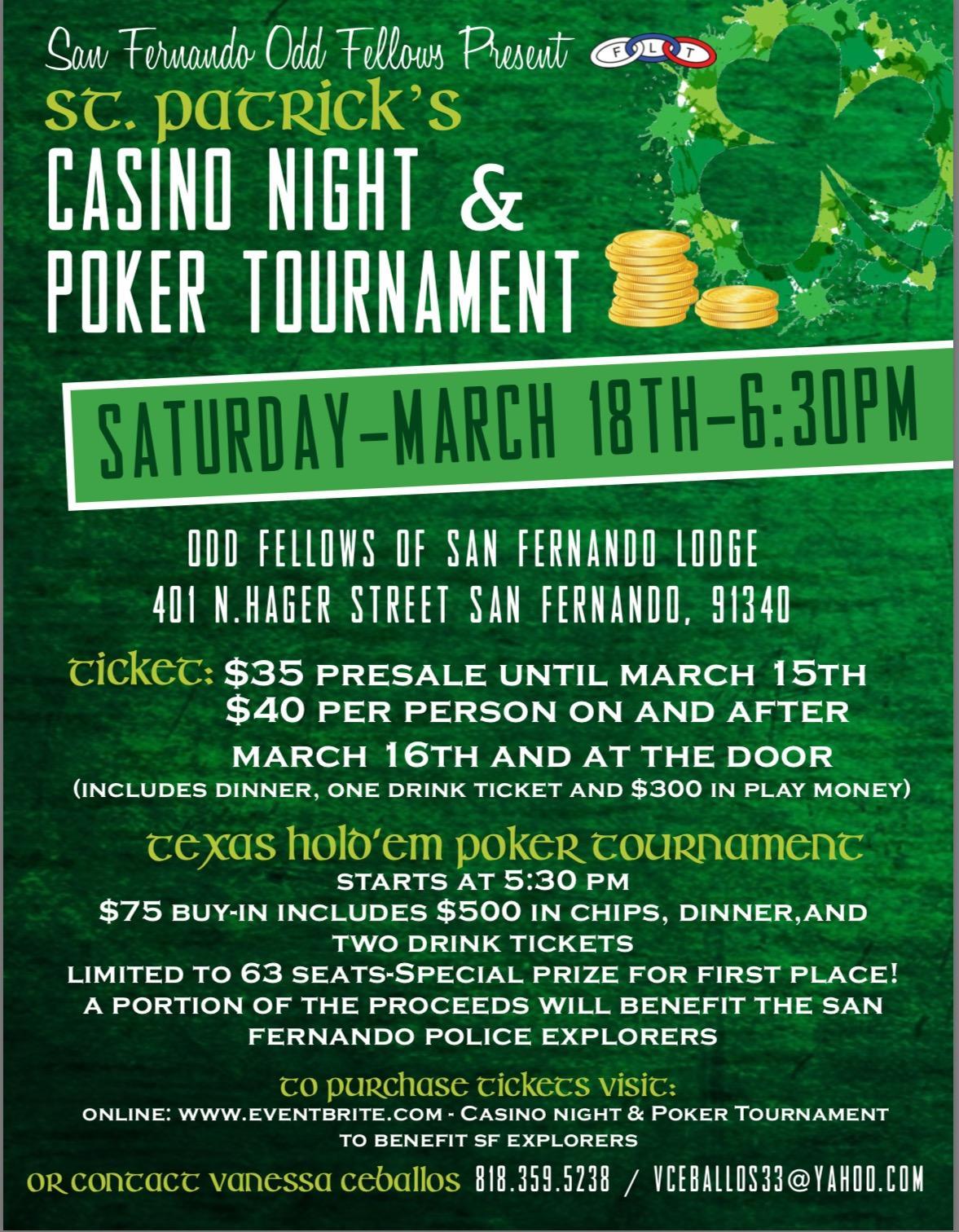 Casino Night and Poker Tournament to benefit