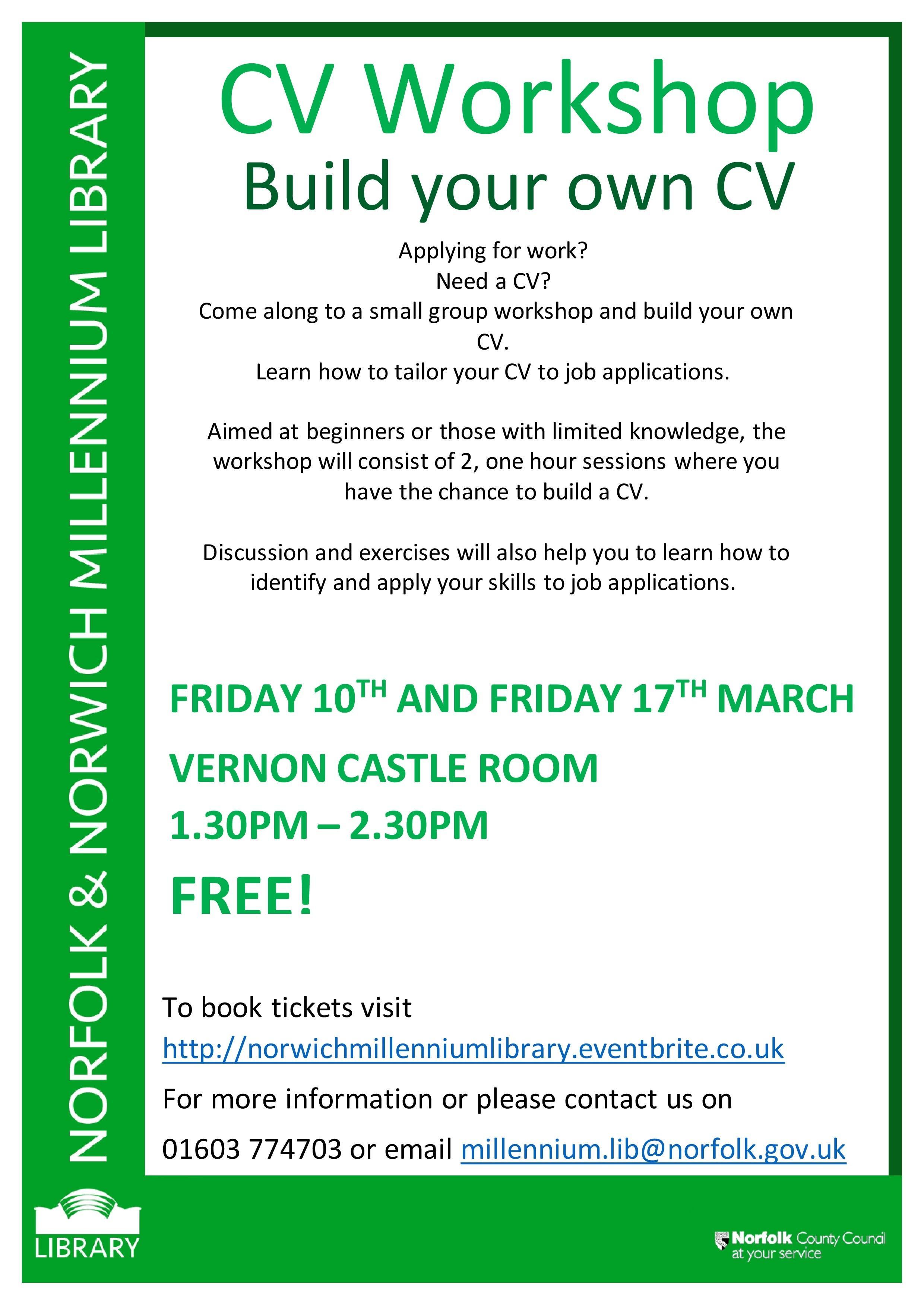 cv workshop build your own cv vernon castle room norwich  cv workshop build your own cv