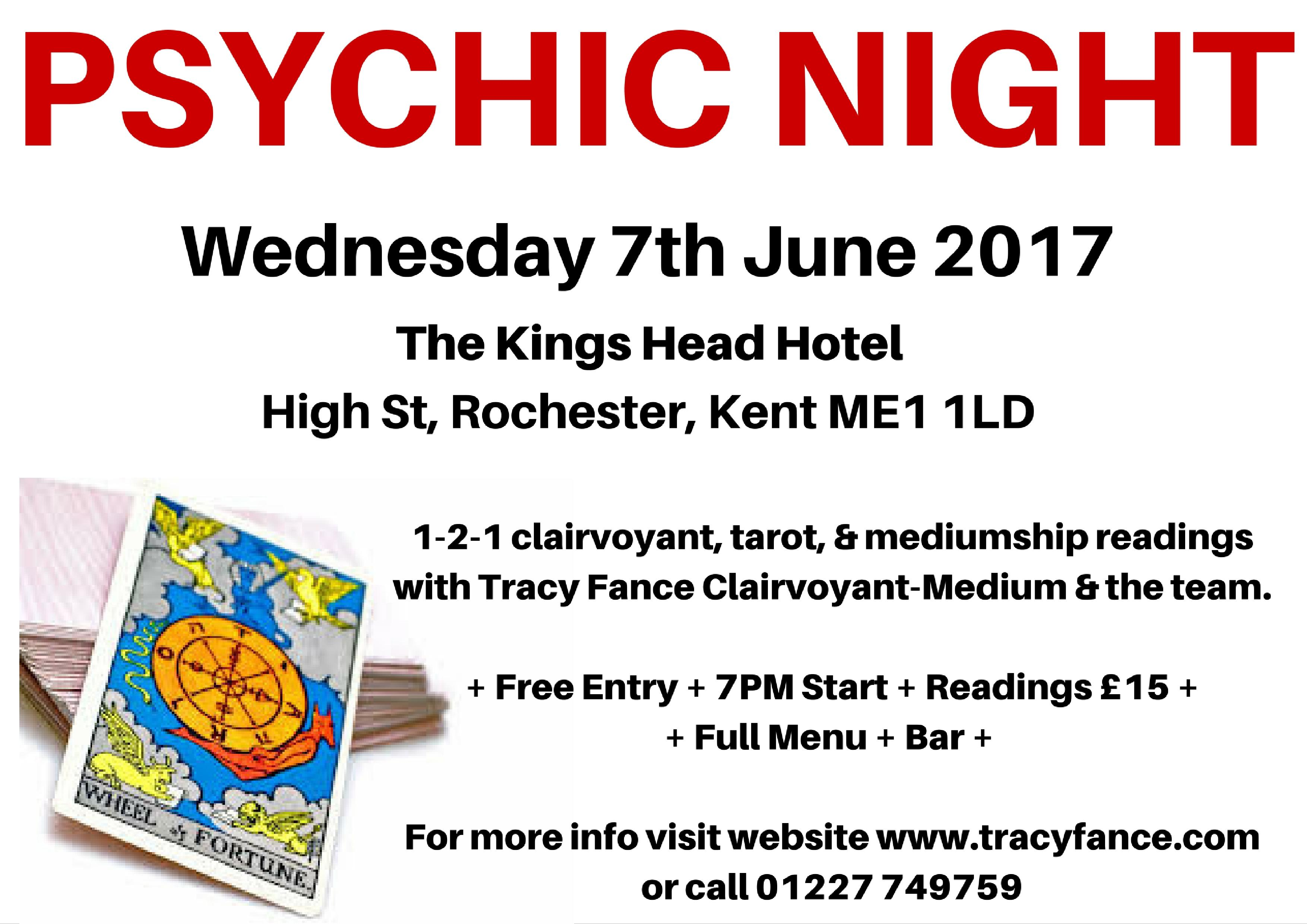tracy fance presents psychic night - 7th june 2017 @ the kings