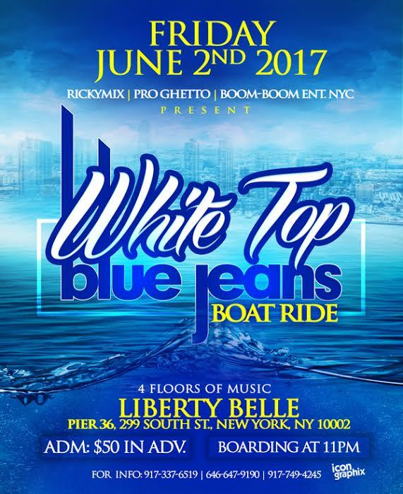 WHITE TOP BLUE JEANS BOAT RIDE . WHITE TOP BLUE JEANS BOAT RIDE