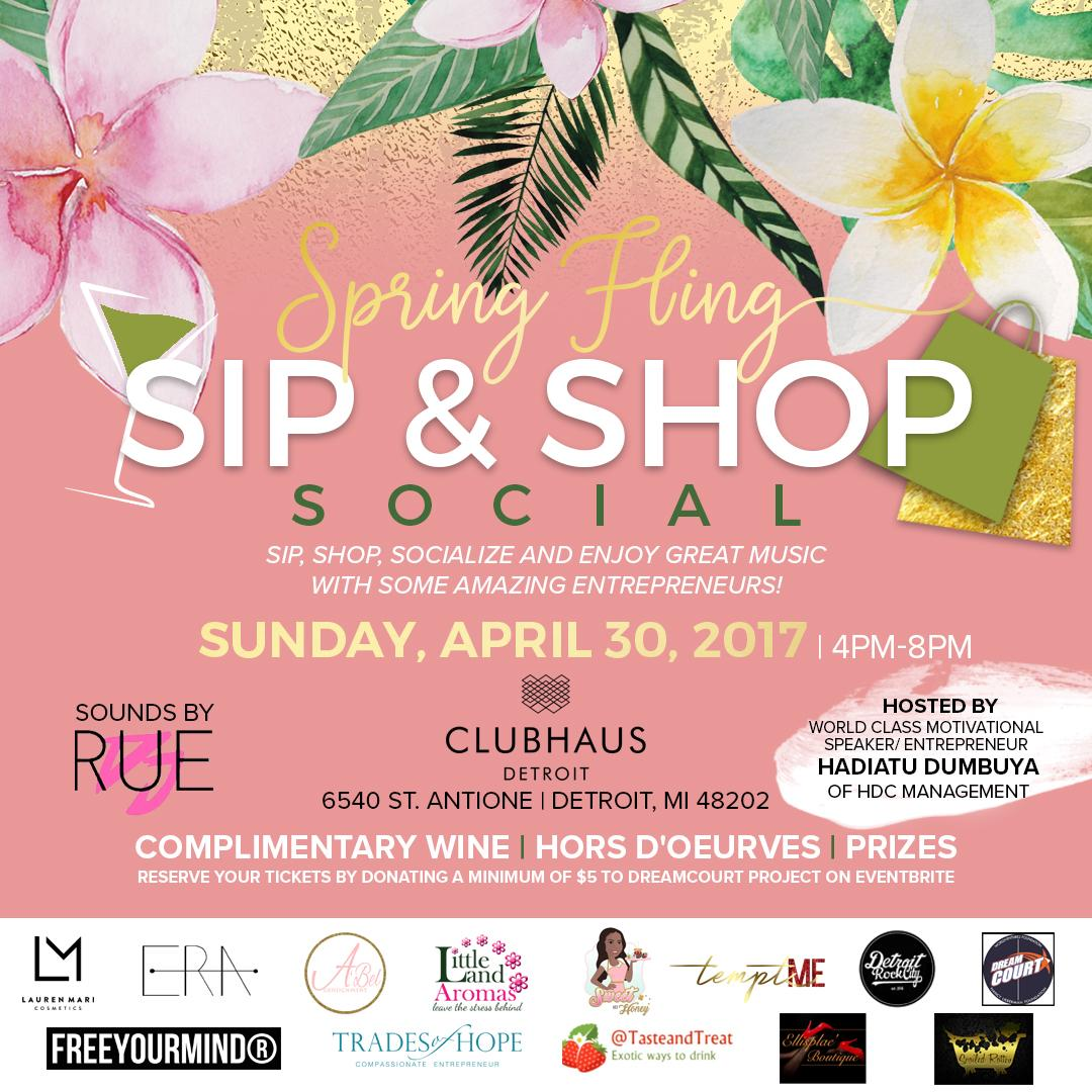 SPRING FLING Sip & Shop Social. SPRING FLING Sip & Shop Social