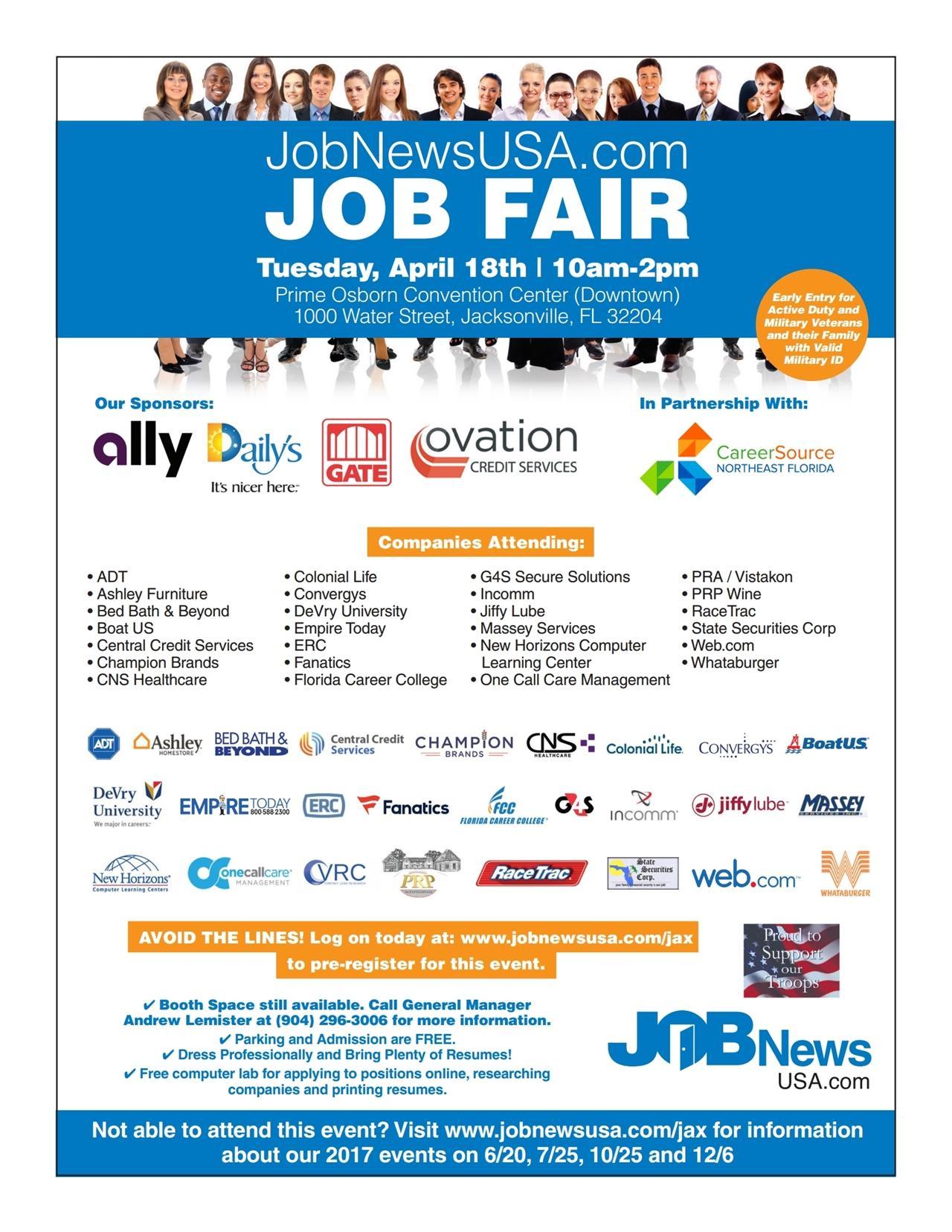 huge job fair prime osborn convention center huge job fair 18 2017 prime osborn convention center jacksonville 18 apr 2017
