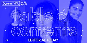 Dynamic/MTL Vol. 11: Table of Contents - Editorial...
