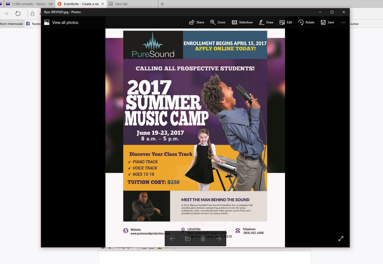 Pure Sound Production, Inc. 2017 Summer Music Camp - Application | Jacksonville, FL | West Jacksonville Dream Center | June 19, 2017
