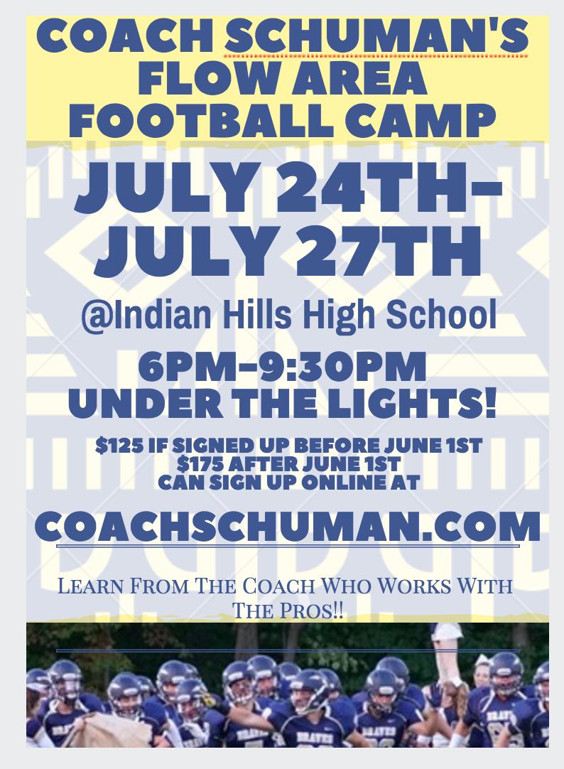 COACH SCHUMAN'S FLOW AREA FOOTBALL CAMP