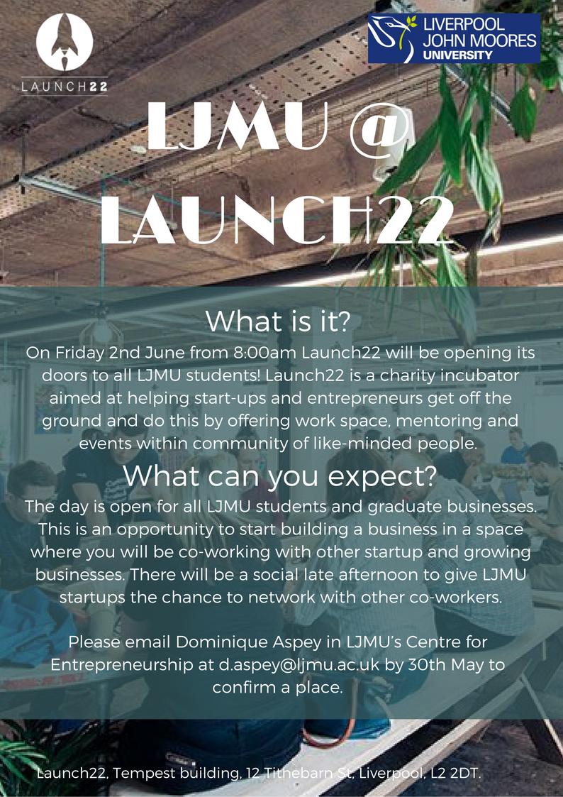 LJMU startups day at Launch 22 incubator
