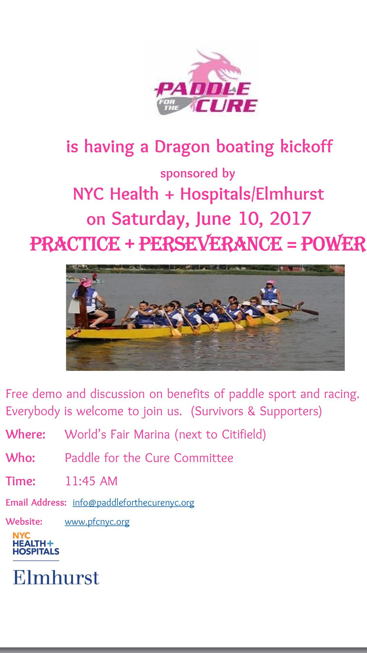 Paddle for the Cure NYC Dragon Boating Kickof