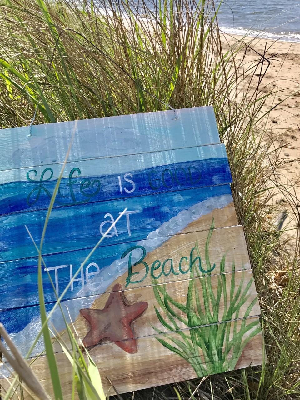 Wooden Beach Sign Paint Night