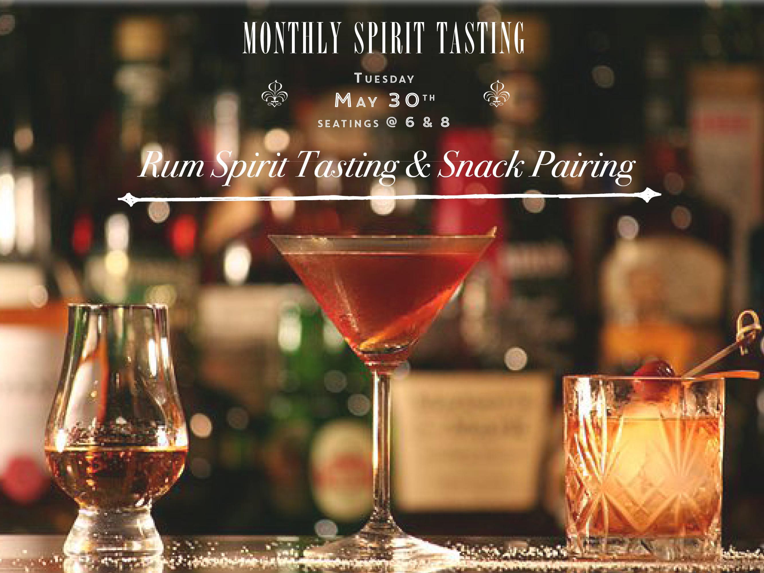 RUM Spirit Tasting & Snack Pairing