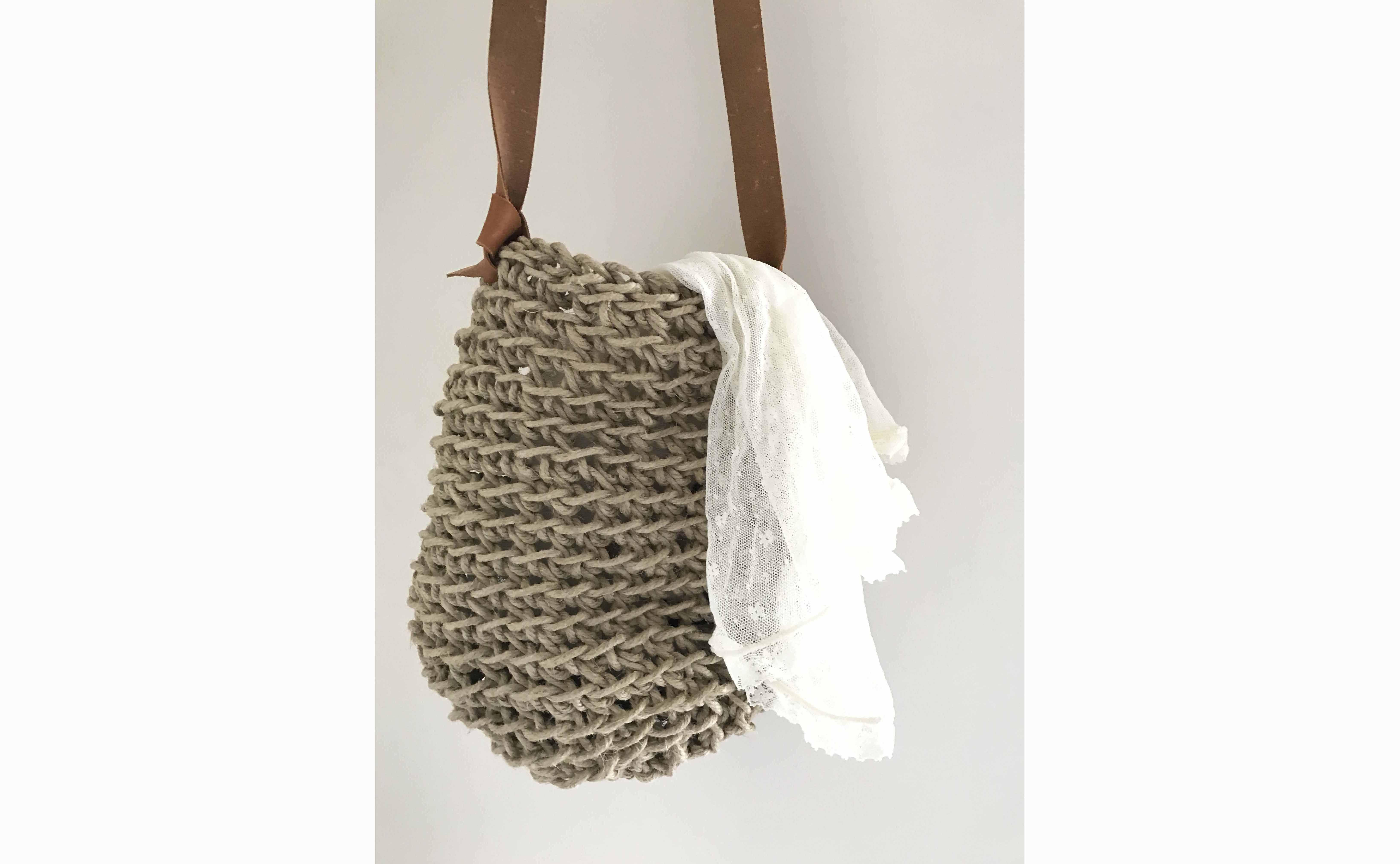 Crochet your own Linen string & Leather bag @