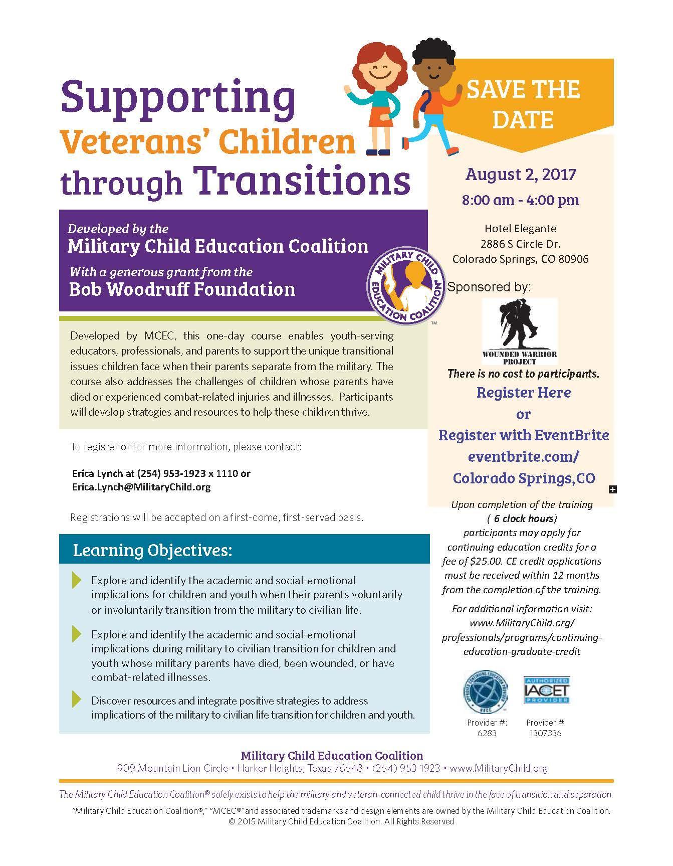 support veterans' children through transitions - colorado springs