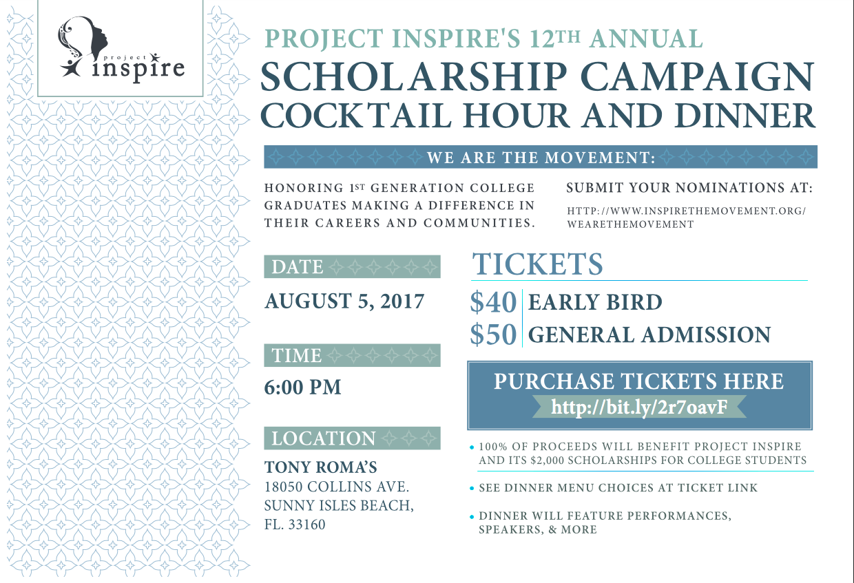 """Project Inspire's 12th Annual Scholarship Cocktail Hour & Dinner: """"We are the Movement"""" - Miami, FL"""