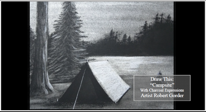 """Charcoal Drawing Event """"Campsite"""" in La Cross"""