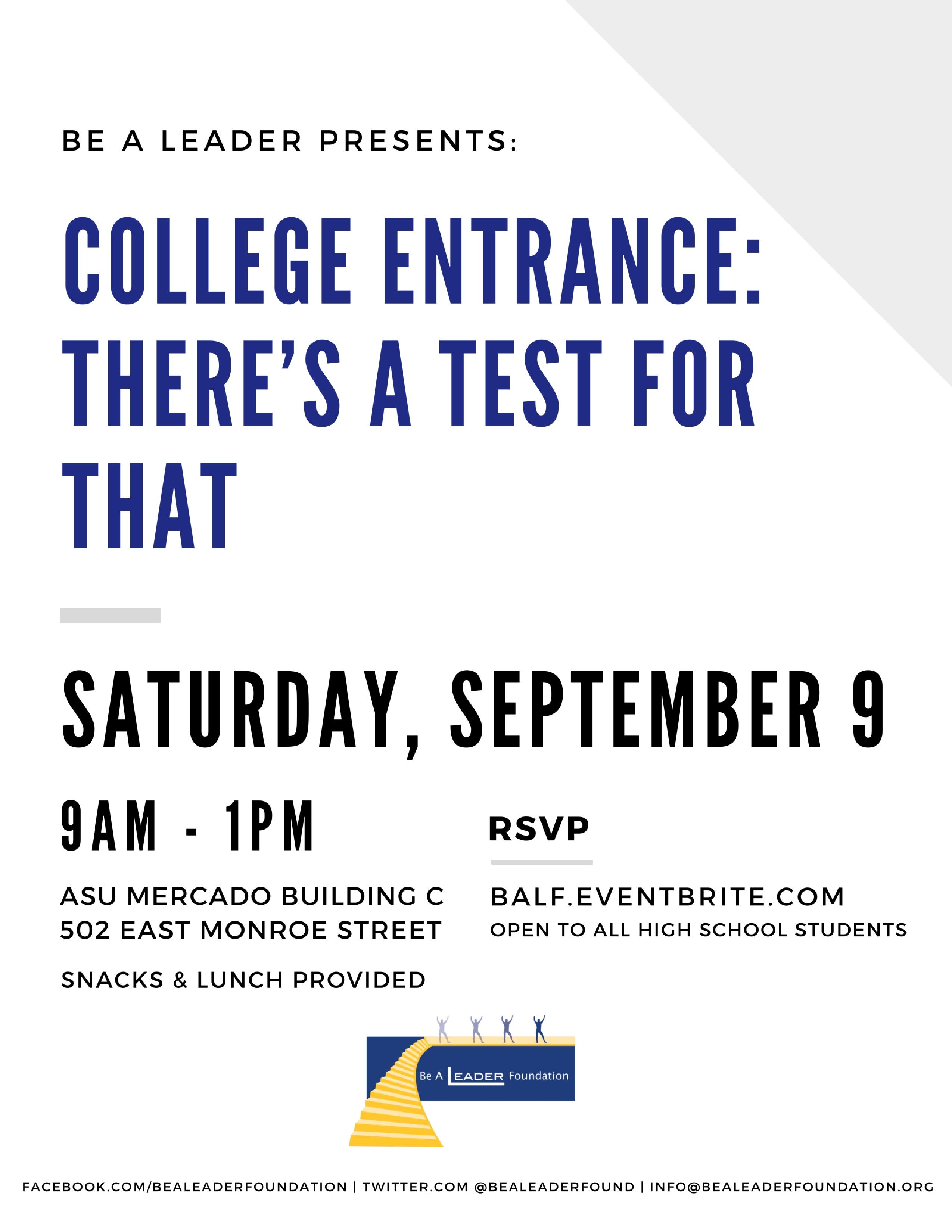 College Entrance: There's a test for that (Be