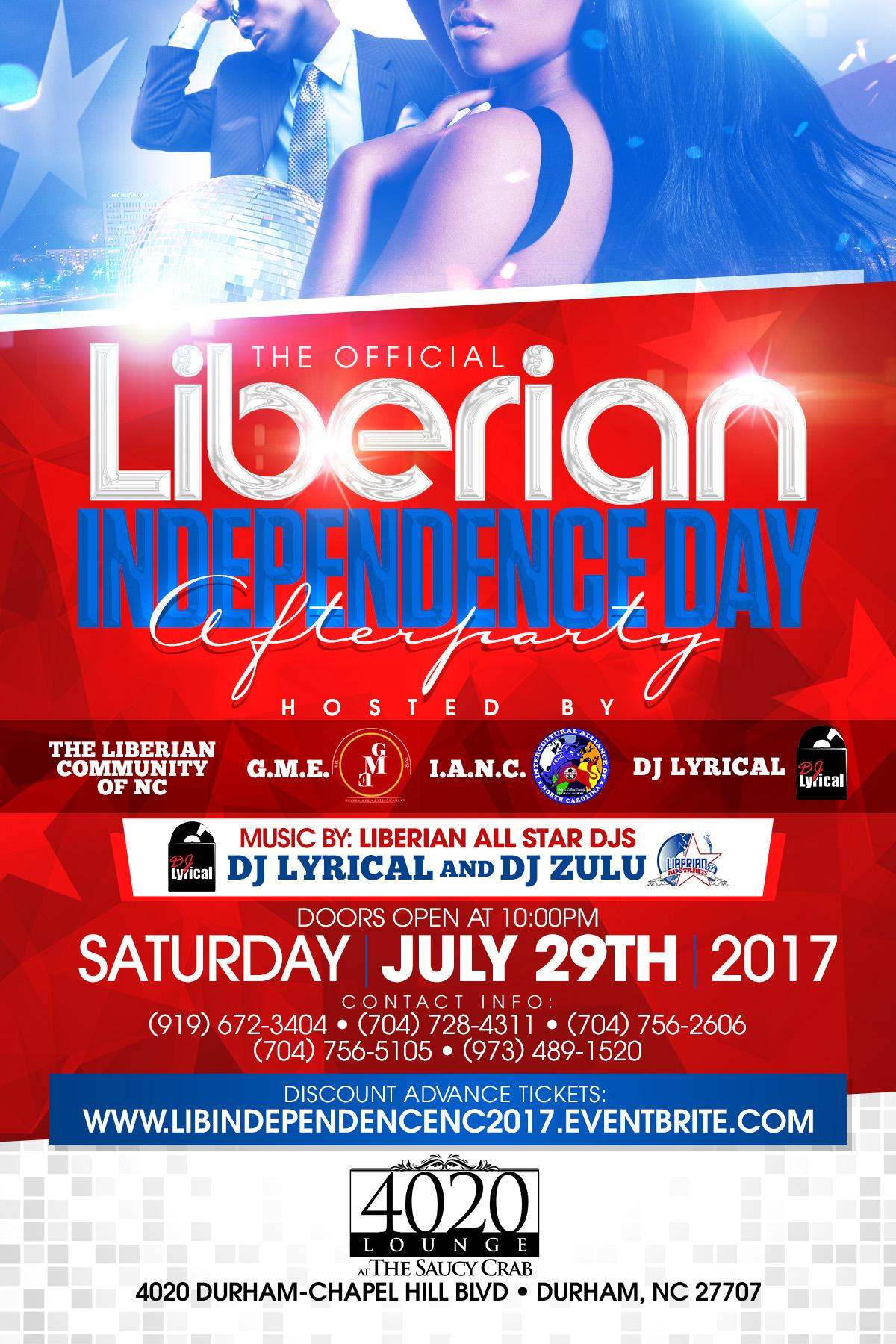 LIBERIAN INDEPENDENCE DAY AFTERPARTY NC