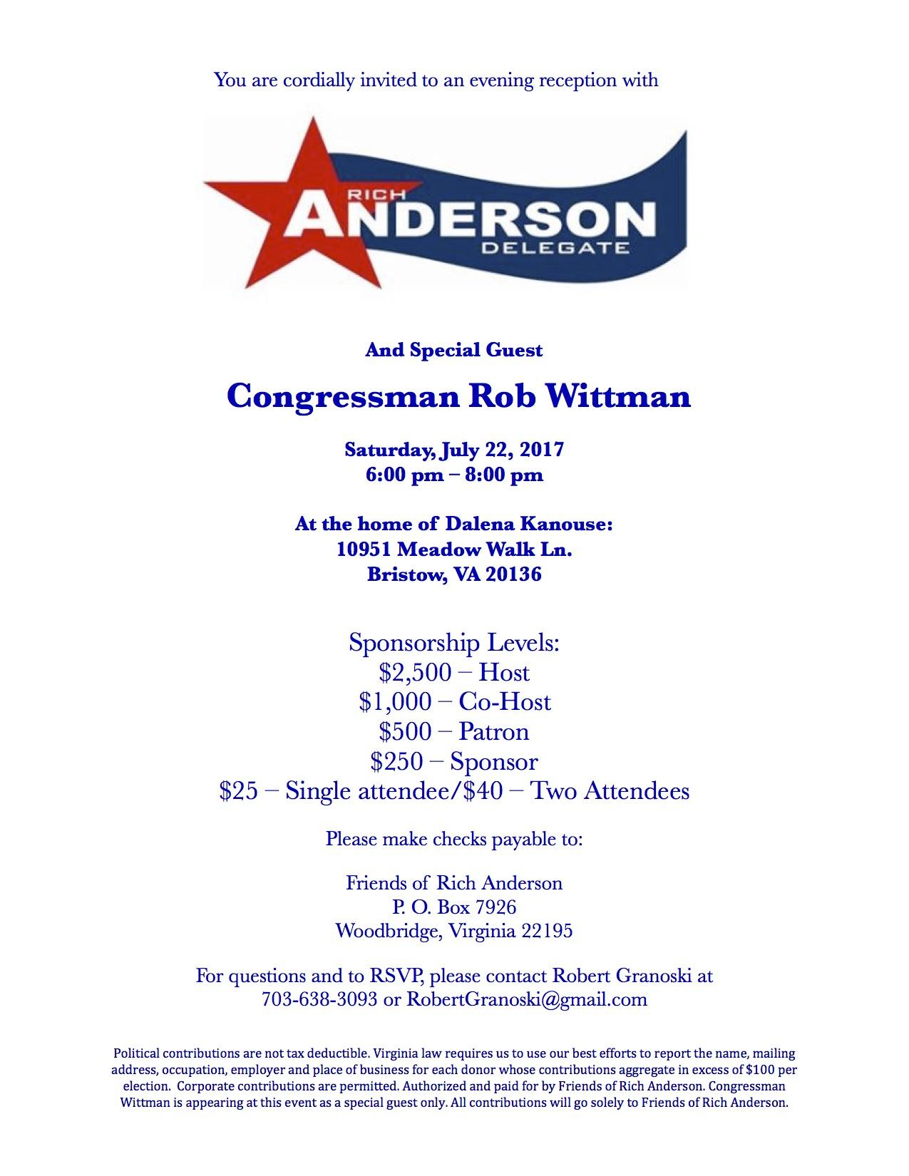 An Evening Reception with Delegate Rich Ander