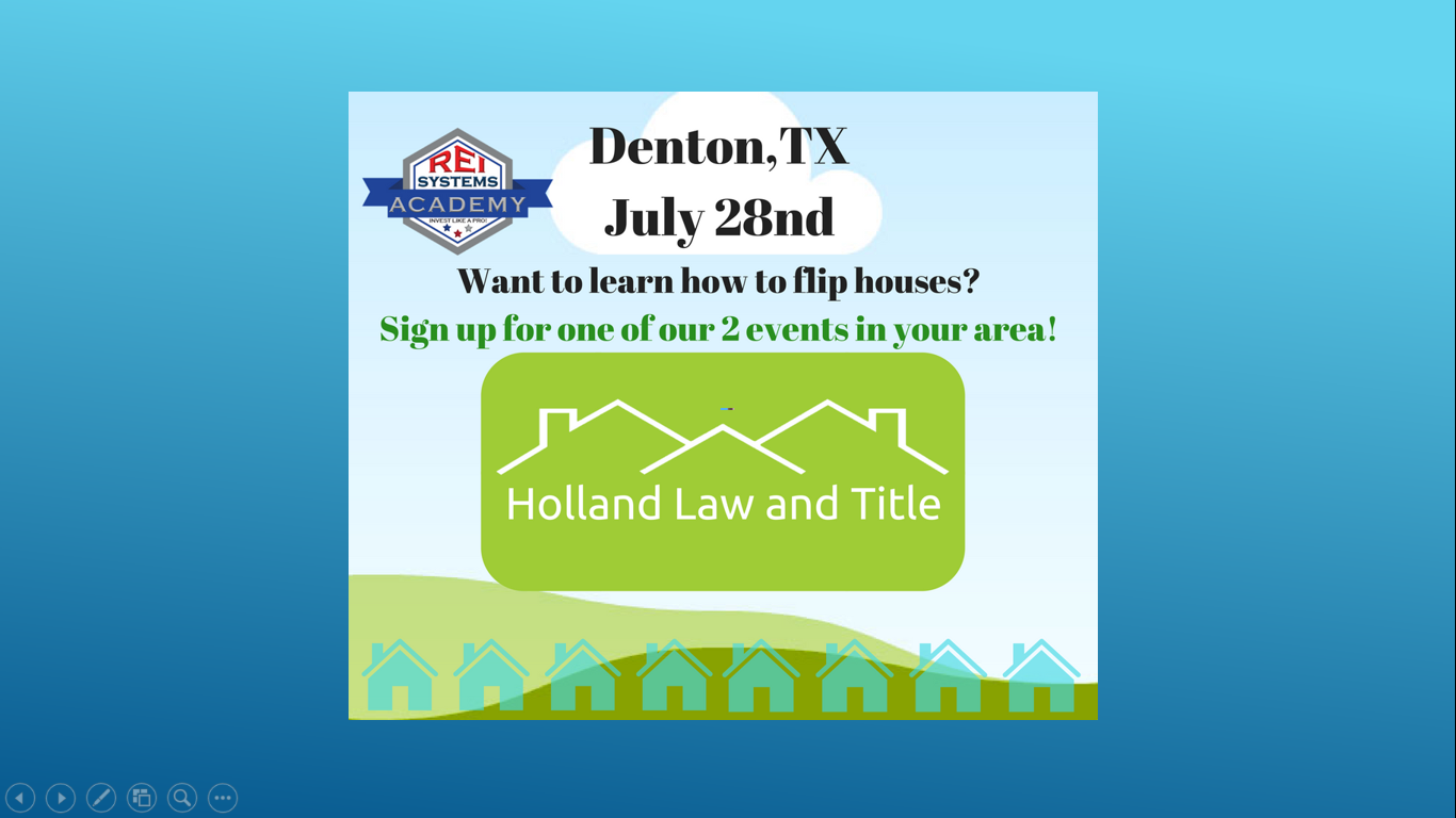 Denton Free Appetizers -Intro to Real Estate