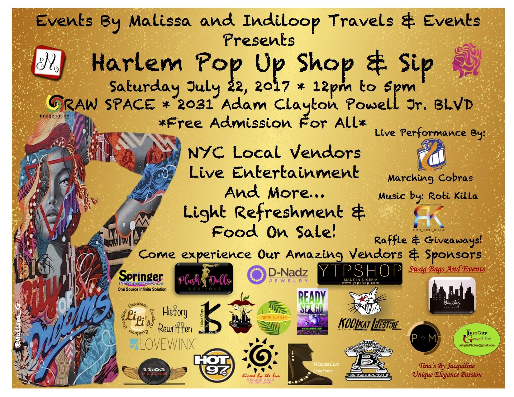 Harlem Pop Up Shop & Sip- July 22, 2017 *FREE
