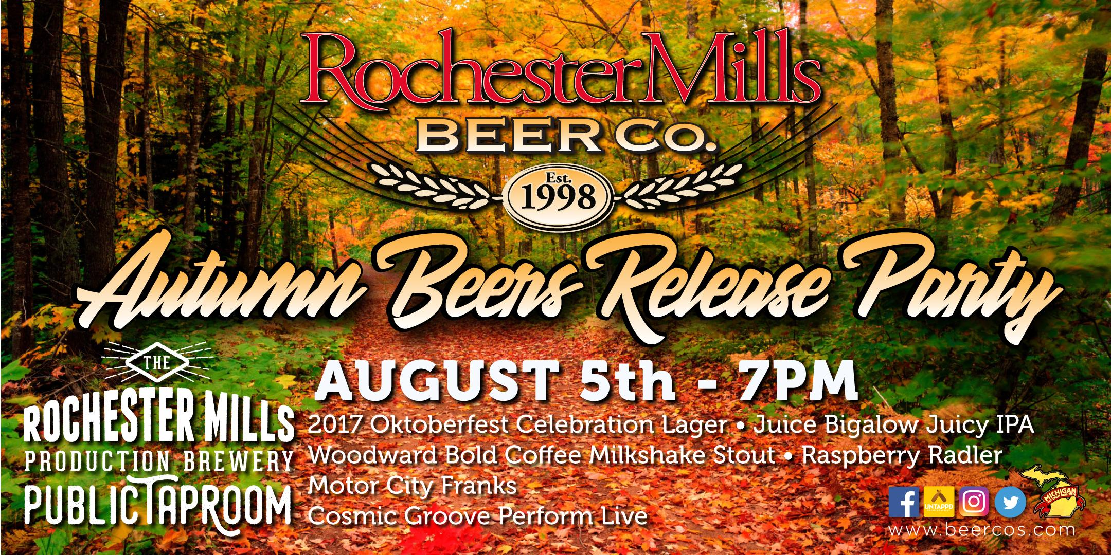 Rochester Mills Autumn Beers Release Party. Rochester Mills Autumn Beers Release Party
