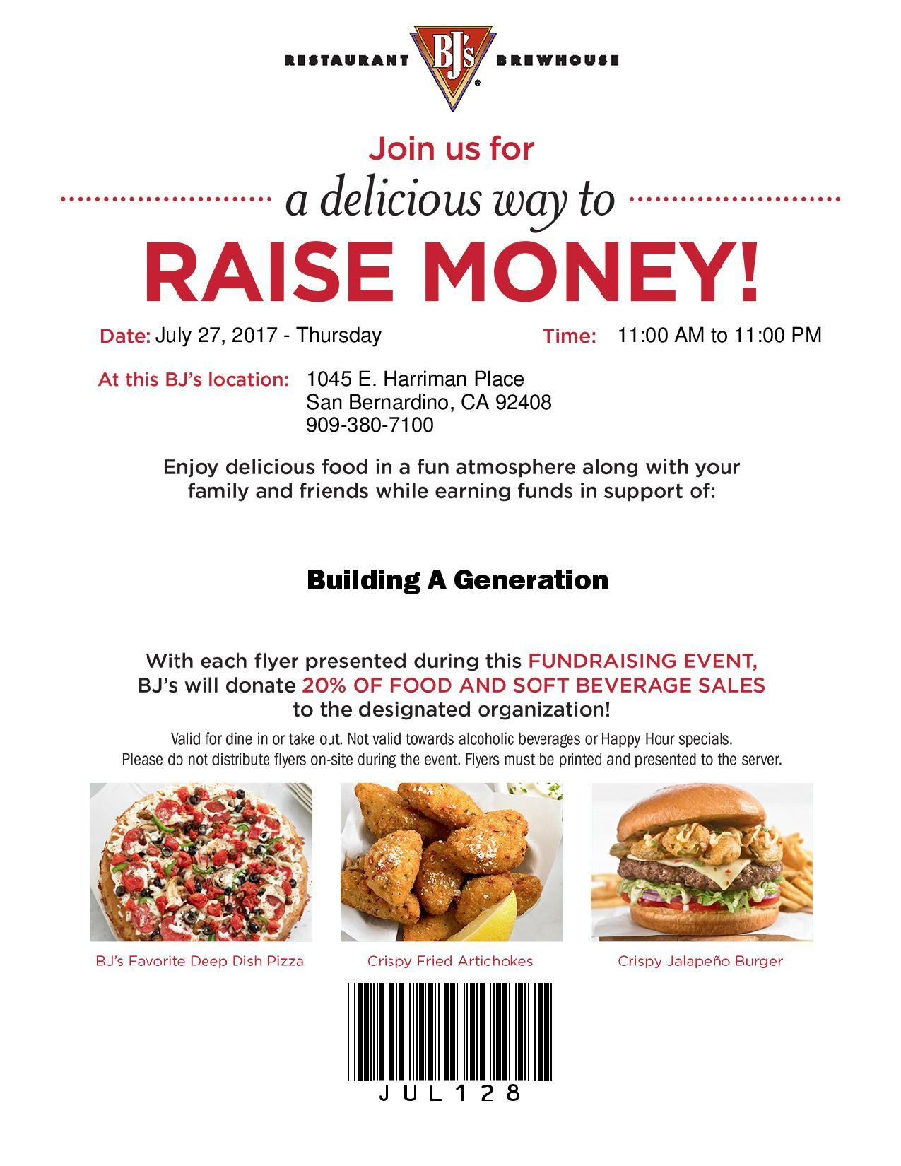 Join us at BJ's and help raise money!