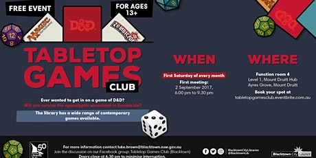 Tabletop Games Club @ The Mount Druitt Hub tickets