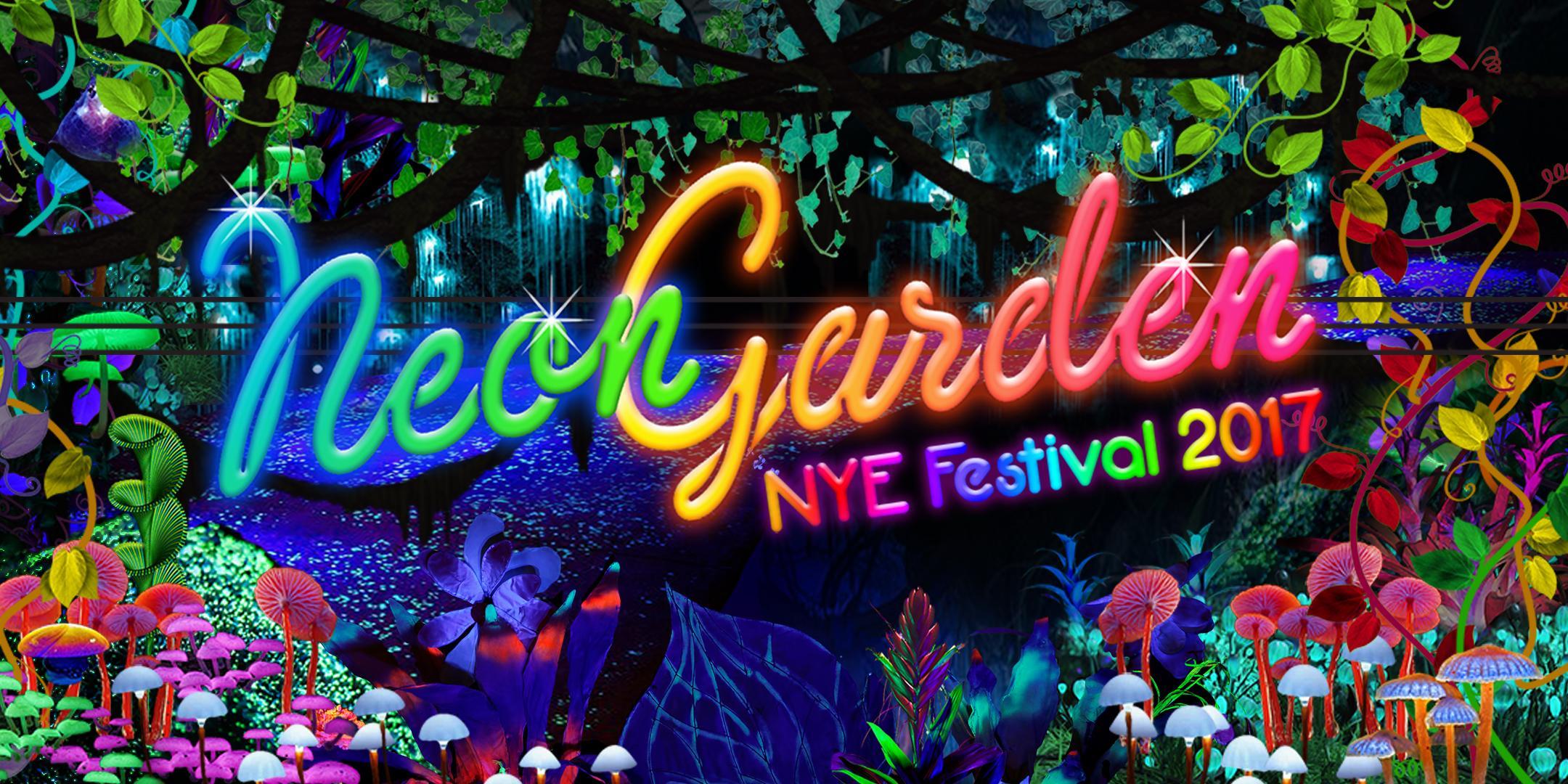 Tropical Fruits Neon Garden NYE Festival 2017