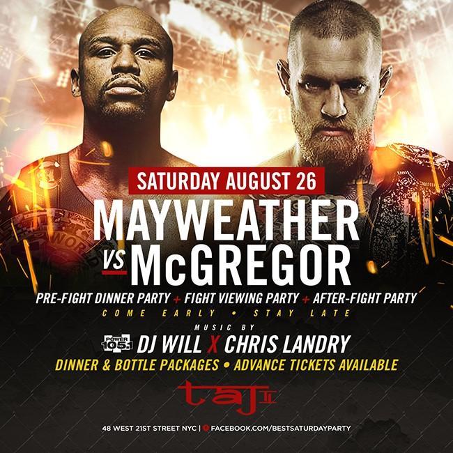 Sat. 08/26: Mayweather vs. McGregor Fight Par