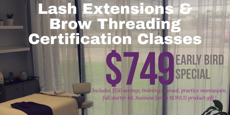 Houston Classic Lash Extensions Brow Facial Threading Certification Tickets