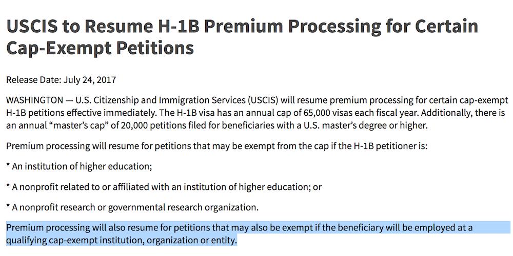 uscis resumes h 1b premium processing for certain cap exempt