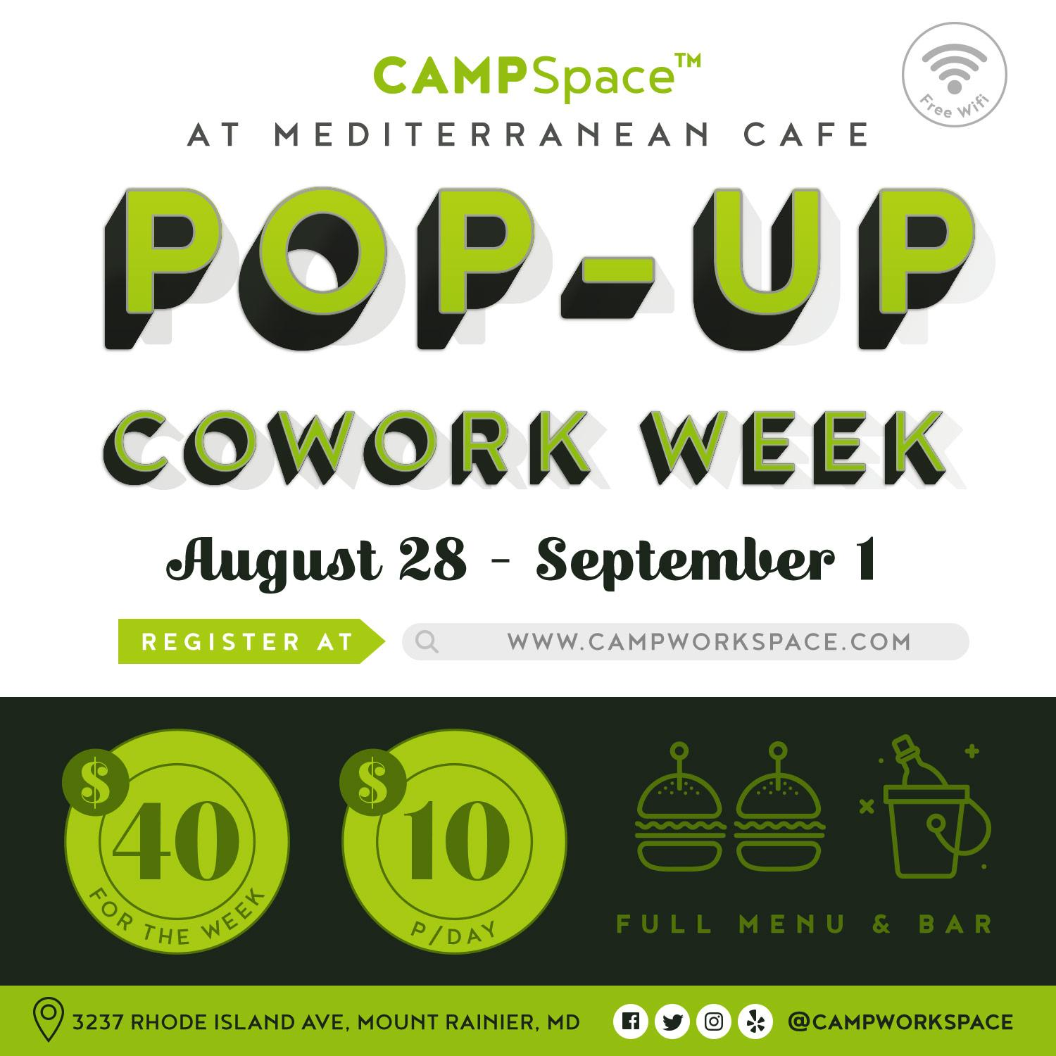campspace® pop-up cowork week @ mediterranean cafe, mount rainier