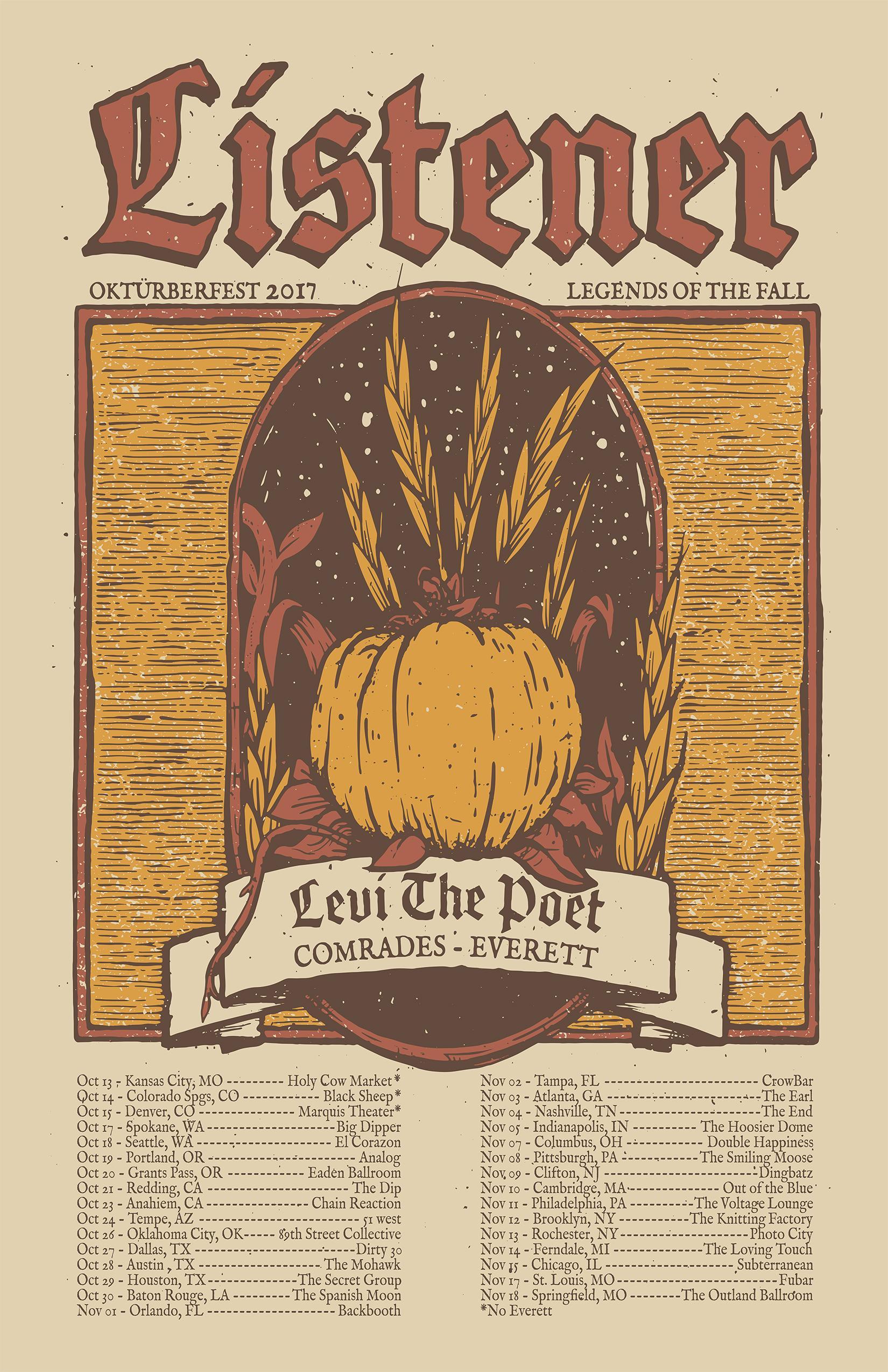 Listener, Levi The Poet, Comrades, & Everett