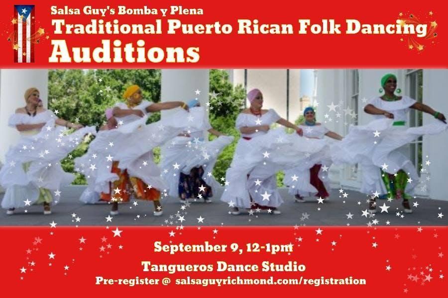 Salsa Guy's Bomba y Plena open auditions - Puerto Rican Folk Dancing!