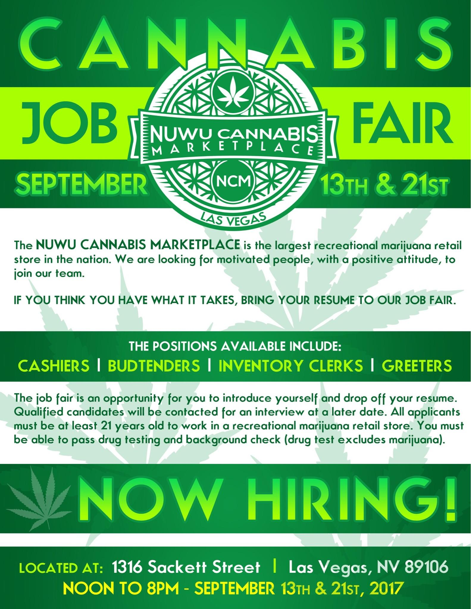 nuwu cannabis retail store job fair 13 sep 2017