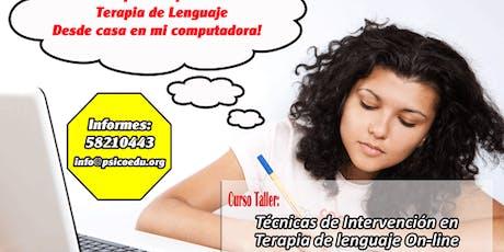 Curso: Técnicas de Intervención en Terapia de Lenguaje (On-Line) entradas