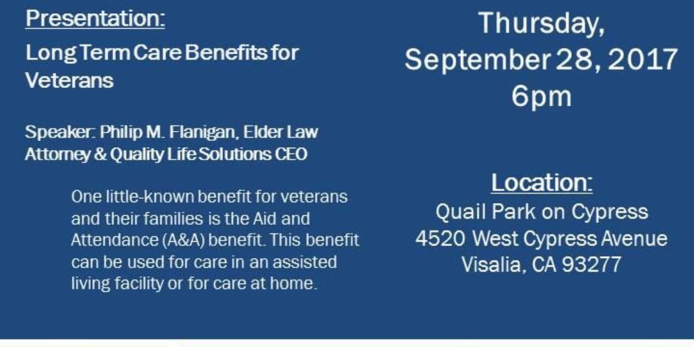Long Term Care Benefits For Veterans Tickets Thu Sep 28 2017 At 600 PM