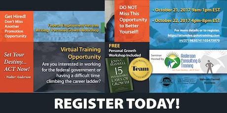 federal resume writing personal growth virtual workshop payment via gototraining 125 tickets