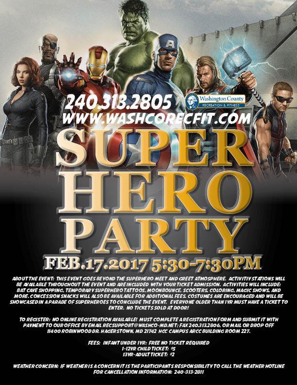 Super Hero Party Washington County Recreation