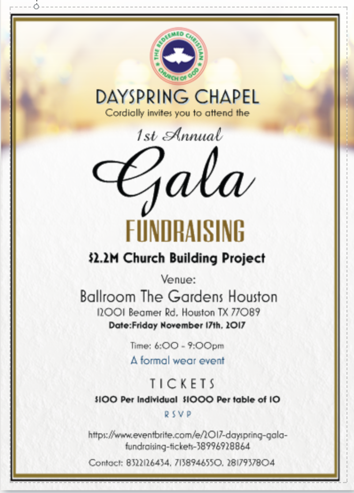 2018 Dayspring Gala Fundraising 16 Mar 2018