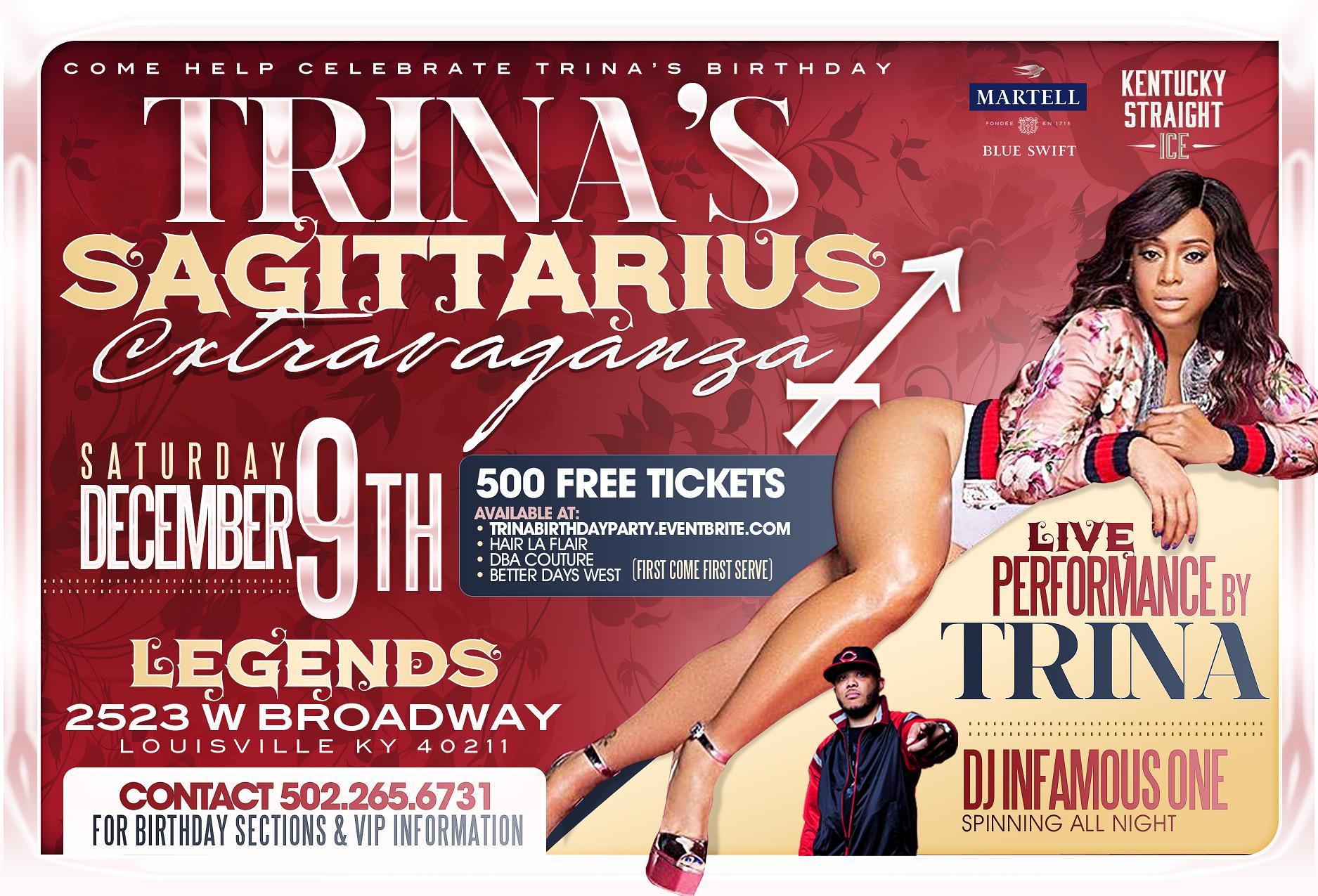 Trina's Sagittarius Extravaganza  | Louisville, KY | Legends Bar & Grill | December 9, 2017