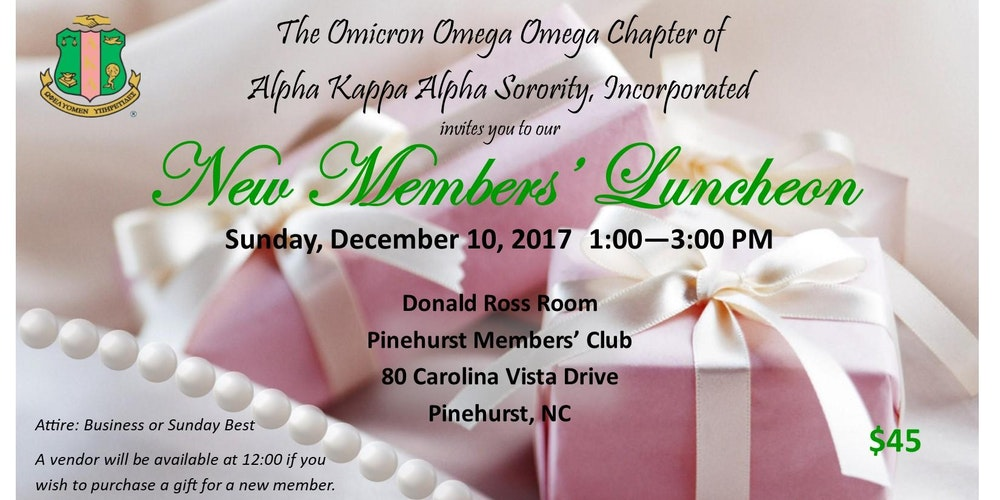 AKA-OOO New Members\' Luncheon Tickets, Sun, Dec 10, 2017 at 1:00 ...