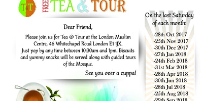 Tea and Tour of one of Europe's biggest Mosque- For people of all Faiths and Non